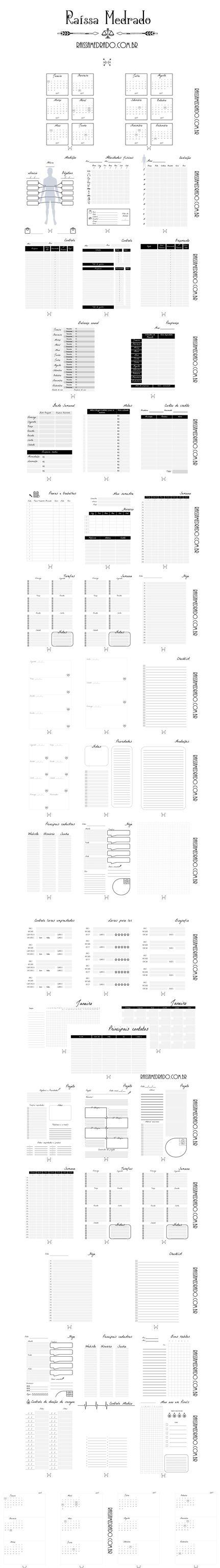 Kit printables em português super completo para uso em vários aspectos de sua vida