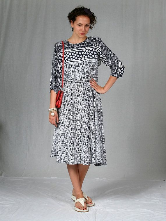 Super chic, 1980's navy and white polka dot dress from New York