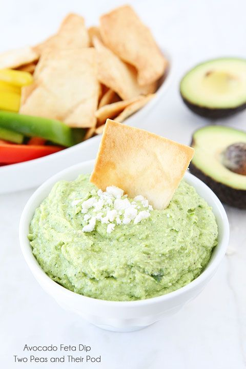 Easy Avocado Feta Dip on www.twopeasandtheirpod.com Only takes 5 minutes to make!