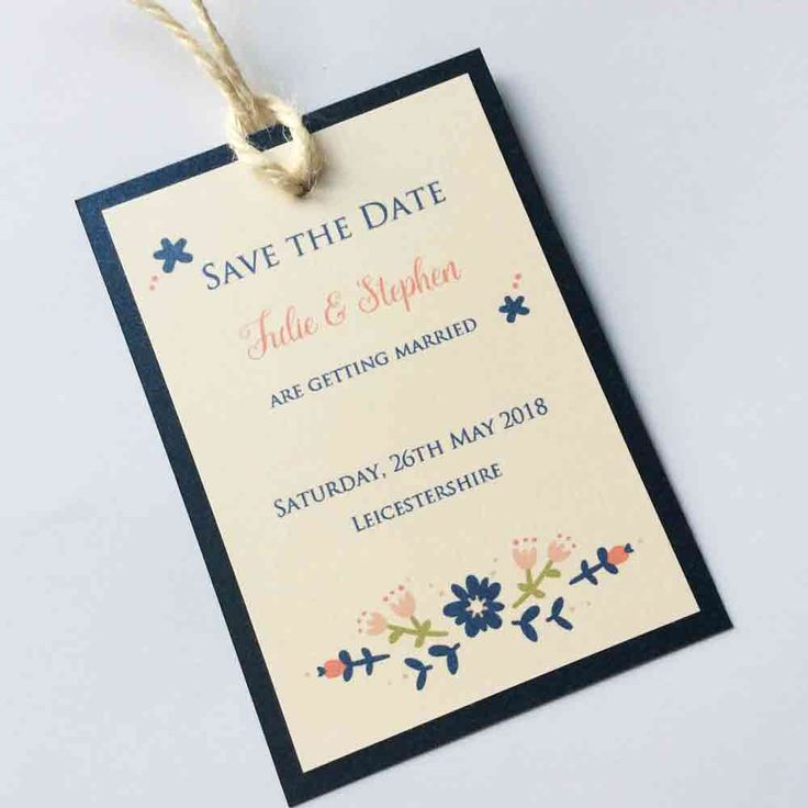 Berry Floral Save the Date Tag