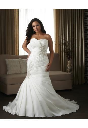 Robe de mariée grande taille sirène taffetas drapes applique perlé