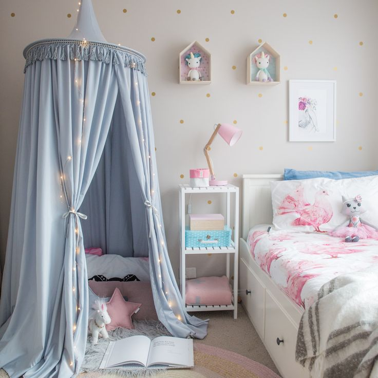 Kid's hanging play canopy tent in light grey! Gorgeous! Girls bedroom ideas, hang over the bed or create a reading nook.