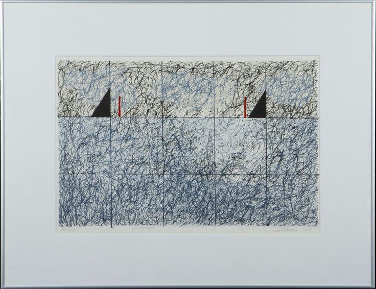 Reino Hietanen: Purjeet, 1989, litografia, 31x50 cm, edition 23/30 - Hagelstam A128
