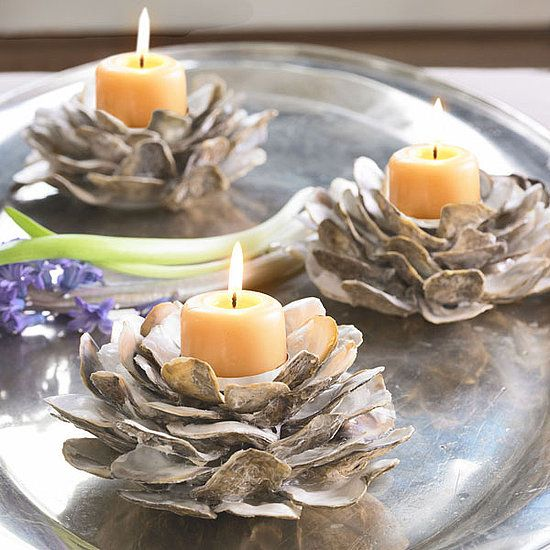 Oyster Candleholder The dainty Oyster Shell Candleholders from Wisteria ($49) can add just a hint of sea life to your warm home.