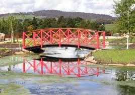 The Red Bridge at Mayfield Garden at Oberon NSW Australia
