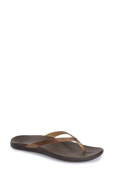 OluKai Ho Opio Flip Flop leather rust/copper, beige, blue, brown, grey, silver sz8 74.95 2/16