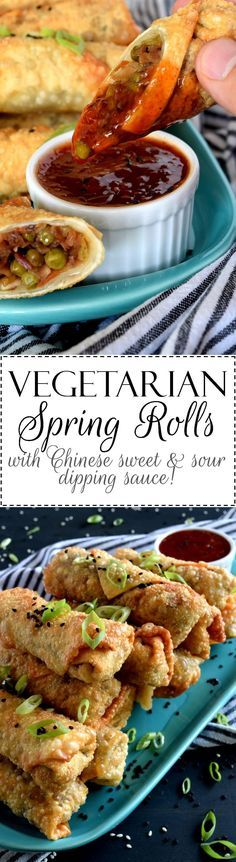 Vegetarian Spring Rolls with Chinese Sweet and Sour Dipping Sauce - Vegetarian Spring Rolls are delicious and super easy to make. Using store-bought coleslaw mix speeds up the prep time and gets these appetizers to the table in 25 minutes! And, don't forget that sweet and sour dipping sauce with a mild kick from the chilies!