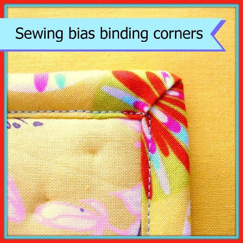 Tutorial for turning corners with bias binding. How to get nice neat, sharp and even corners front and back. Part of a series of bias binding tutorials.