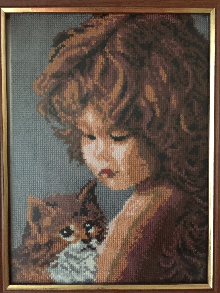 """Completed cross stitch, Home decoration, Framed cross stitch, Handmade embroidery -""""Girl with a cat"""".Free shipping by NattikStudio on Etsy"""