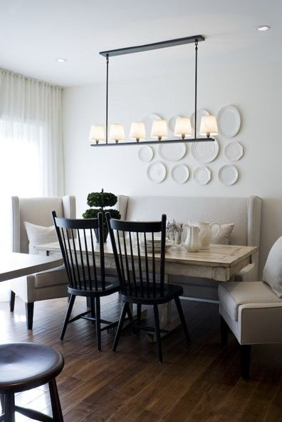 Suzie: Toronto Interior Design Group - Chic, eclectic dining room with iron linear chandelier, ...Interior Design,  Boards, Dining Rooms, Lights Fixtures, Interiors Design, Diningroom, Dining Table'S, Windsor Chairs, Dining Tables
