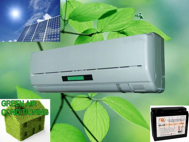 Solar powered air conditioning unit.