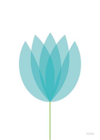 Blue Flower Print | Blue Tulip Poster | Flower Art | Showler