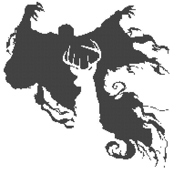 The Stag and Dementor Cross Stitch Pattern