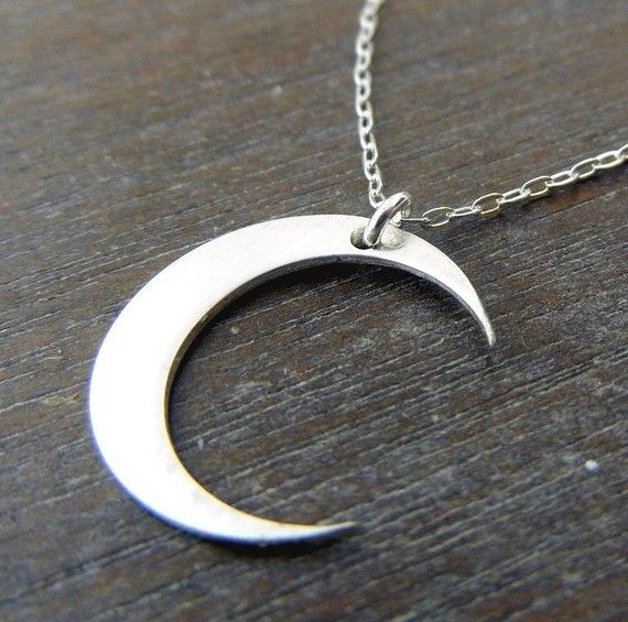 Silver Moon Necklace  MIDNIGHT Brushed by eriadesignsjewelry, $22.00