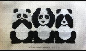 Panda Says No Evil, Hears No Evil, Sees No Evil - cross stitch