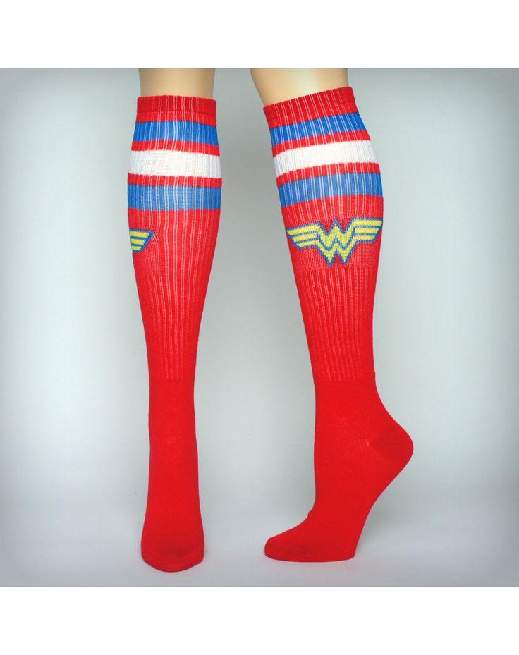 Women's Socks | ... / Socks & Slippers / Wonder Woman Athletic Stripe Knee High Socks