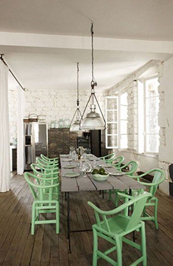 farm house dining room mint green chairs.