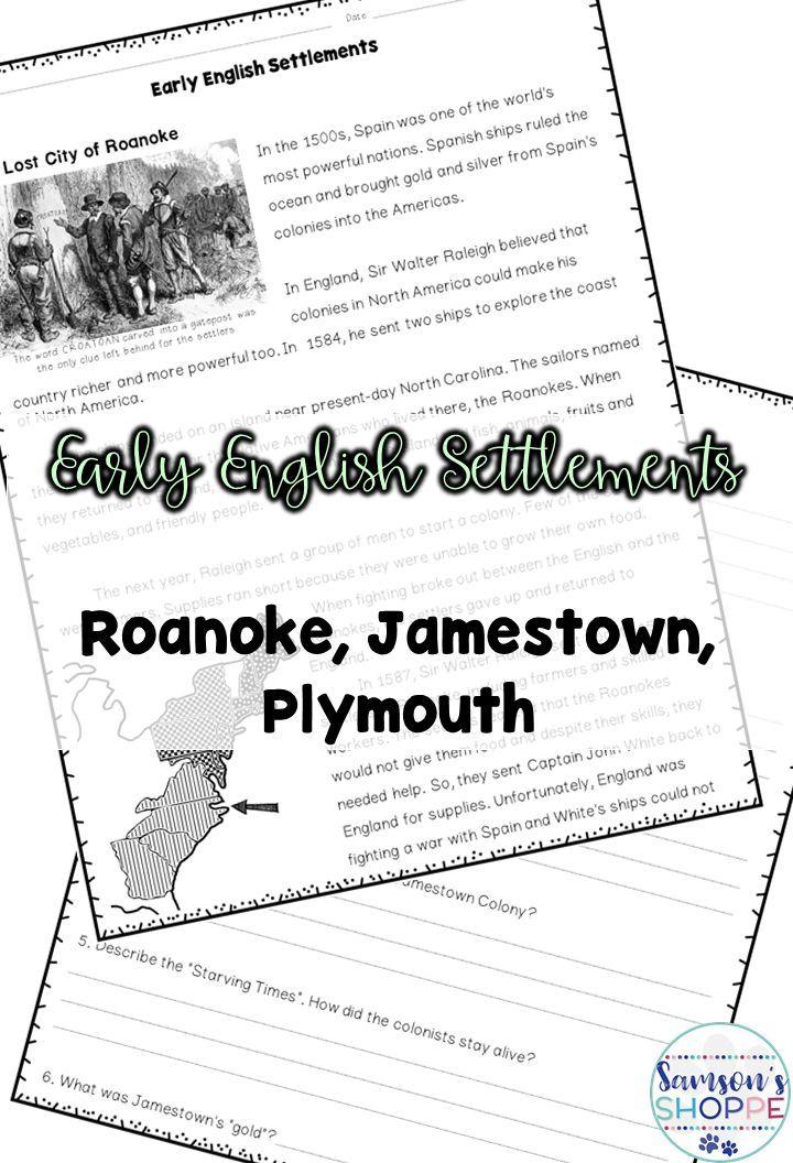 Early Colonial Settlements Jamestown, Roanoke, Plymouth