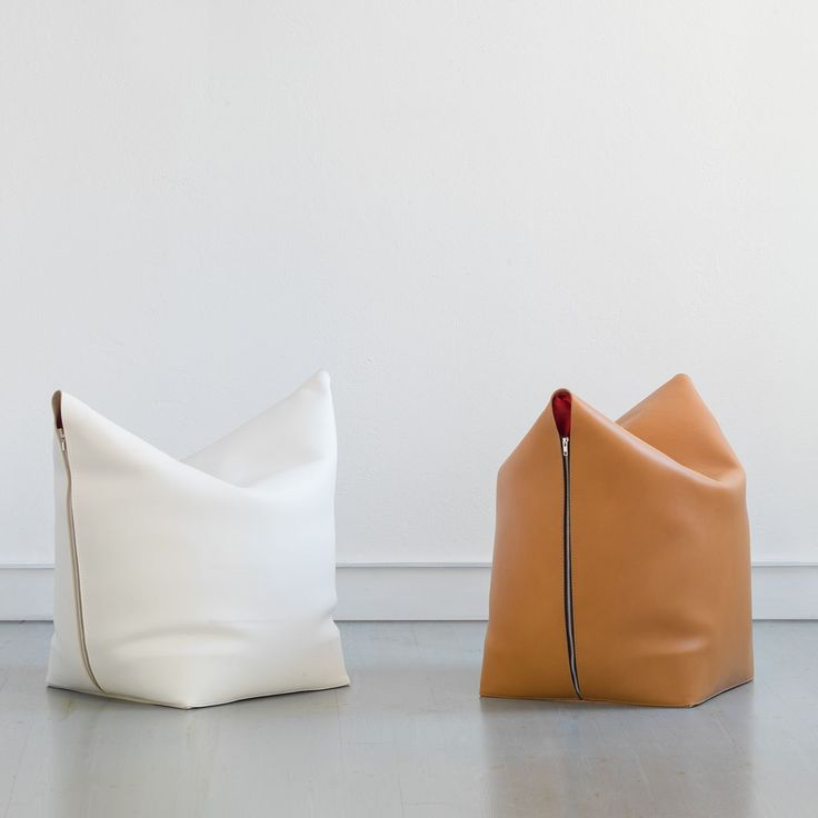 Mao Orange Leather Bag Chair