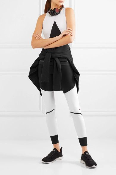 Black and white stretch-jersey Slips on 80% polyester, 20% spandex Machine wash Imported
