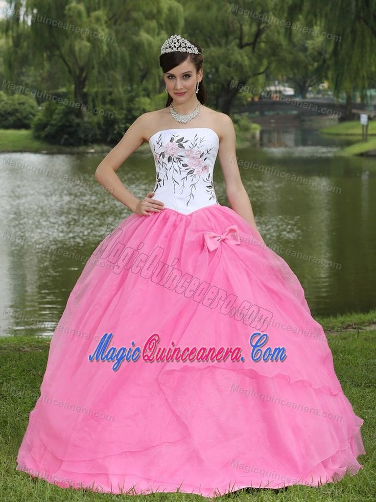 White Strapless Quinceanera Dress with Embroidery and a Pink Organza Bottom