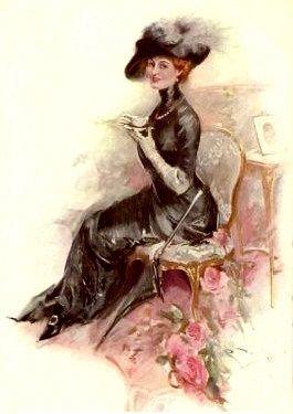 Victorian Lady   victorian lady in black dress having tea elegant tea party