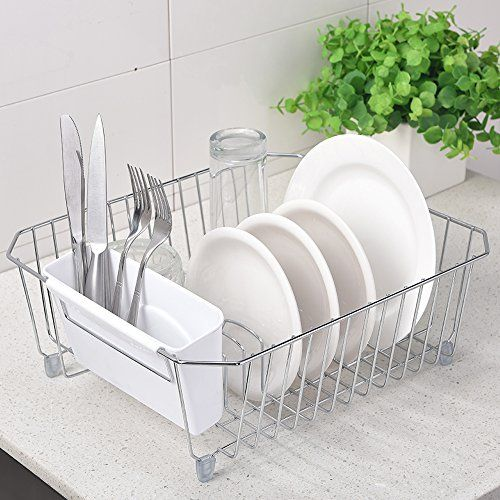 IKEBANA Rust Proof In-sink Kitchen Steel Dish Drying Rack Dish Drainer Rack  With Removable Plastic Utensils Holder 87698bb5a091