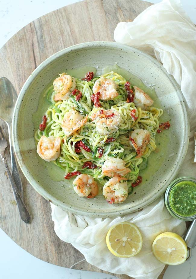 Boost your next pasta dish with this amazingly tasty and easy to make Zucchini Noodles with Pesto and Shrimp Scampi Recipe! @frankekitchenus