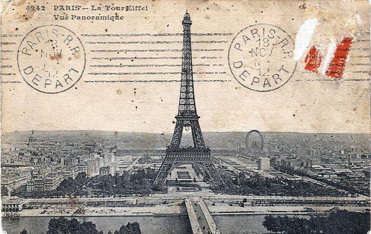 """Postcard, dated 1912. Title: """"Paris - La Tour Eiffel. Panoramic view."""""""