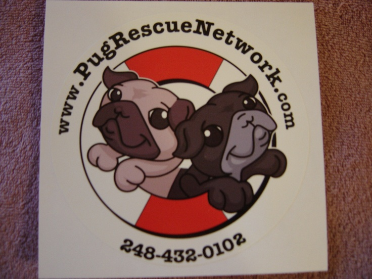 """6 Inch Round PRN Window Decal """"Sale""""  Pug Rescue Network 6 inch Round Window Decal.  Shipping is included with this item."""