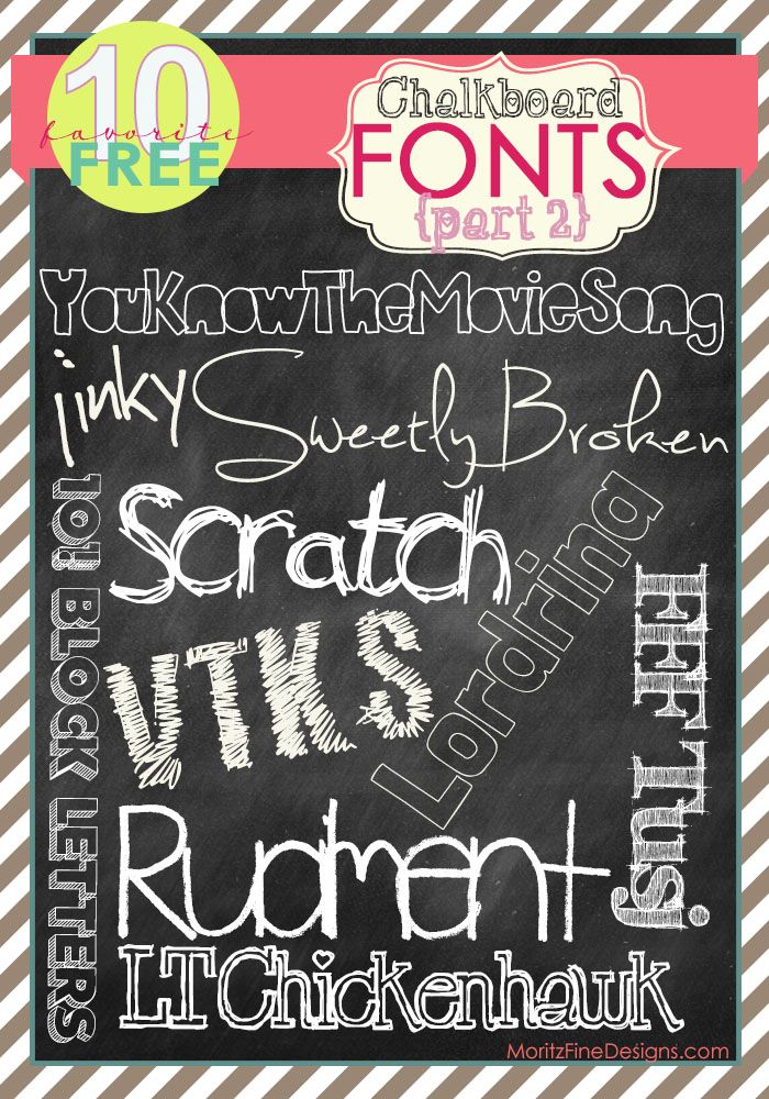 10 FREE chalkboard fonts {Part 2} has arrived! Since the first page of FREE chalkboard fonts was such a hit, I decided it's time to make a FREE chalkboard fonts part two!! Here are ten more trendy fonts that complete the chalkboard look everyone wants. Feel free to use the links to download one free …