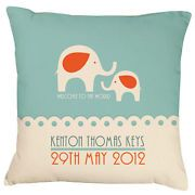 Blue Elephant Art Deco -Birth Announcement Personalised Cushion   Keepsake
