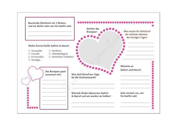 Diy Gastebuch Steckbrief 2 Pdf Vorlagen Gastebuch Hochzeit