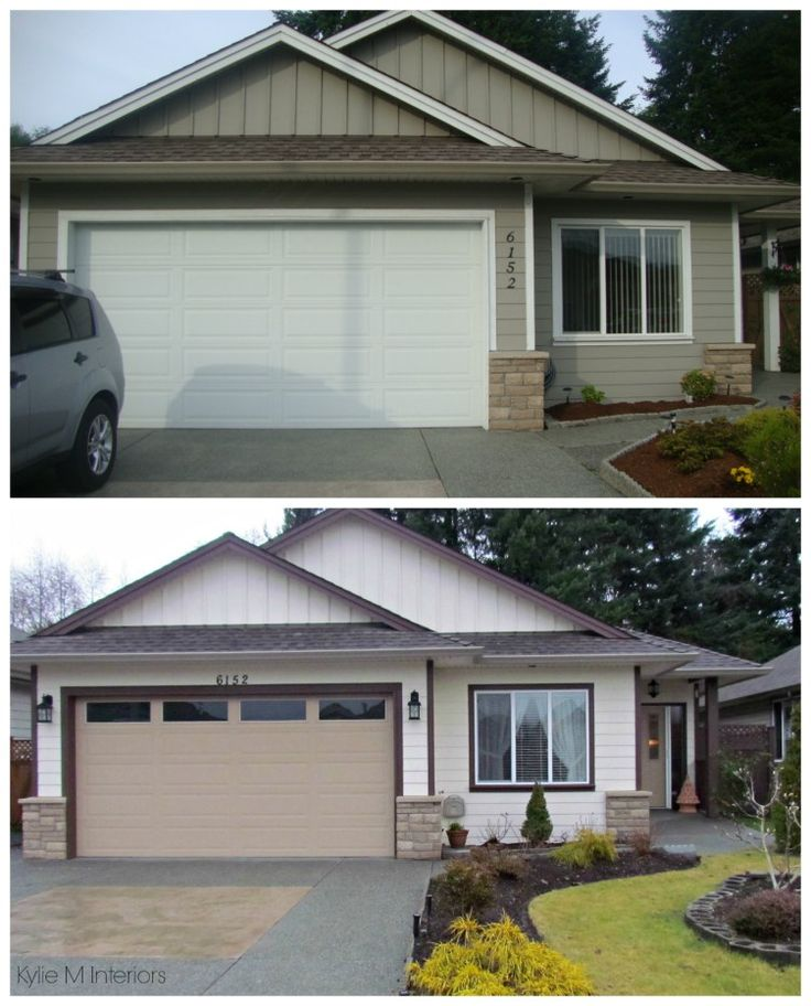 Before And After Exterior Color Palette On A Small Ranch Style Home. Dark  Trimu2026