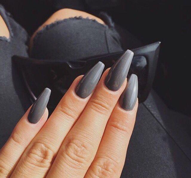 Grey Coffin Nails - Best 25+ Dark Grey Nails Ideas On Pinterest Dark Nails, Dark