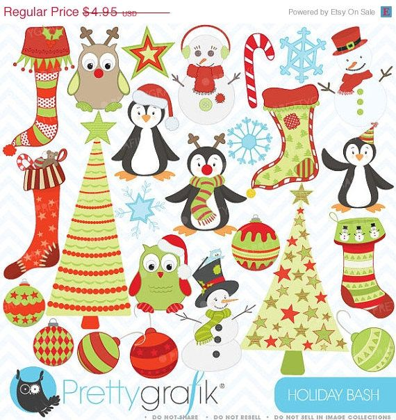80% OFF SALE holiday christmas clipart, commercial use, vector graphics, digital clip art, digital images - CL403