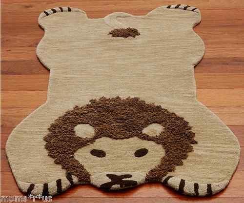 Pottery Barn Kids Lion Shaped Rug Jungle Nursery Wool 3x5 SEALED NEW