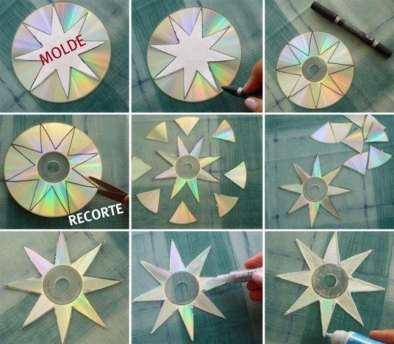 14 ideas para hacer adornos de Navidad reciclando CDs