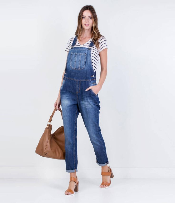 Jardineira feminina em jeans all jeans pinterest ems for Jardineira jeans infantil c a
