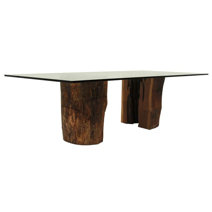 Ipe trunk pedestal dining table with glass top by Tunico T. | From a unique collection of antique and modern dining room tables at http://www.1stdibs.com/furniture/tables/dining-room-tables/