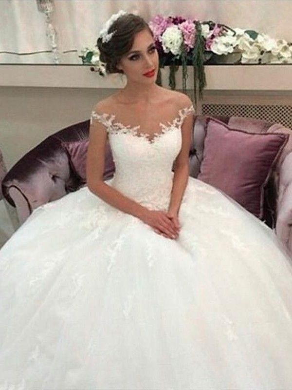79e7c0f654ebe Ball Gown Off-the-Shoulder Court Train Tulle Sleeveless Wedding Dresses -  Hebeos Online