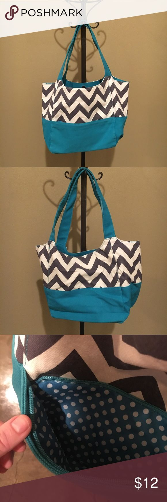 Teal Chevron Canvas Bag Tote Purse Great condition canvas bag a wide and roomy! Inside zip pocket in one wall, 2 slip pockets on opposite side - small outside zip pocket. Grey/Ivory Chevron Pattern, Teal Blue accent color! Bags Hobos