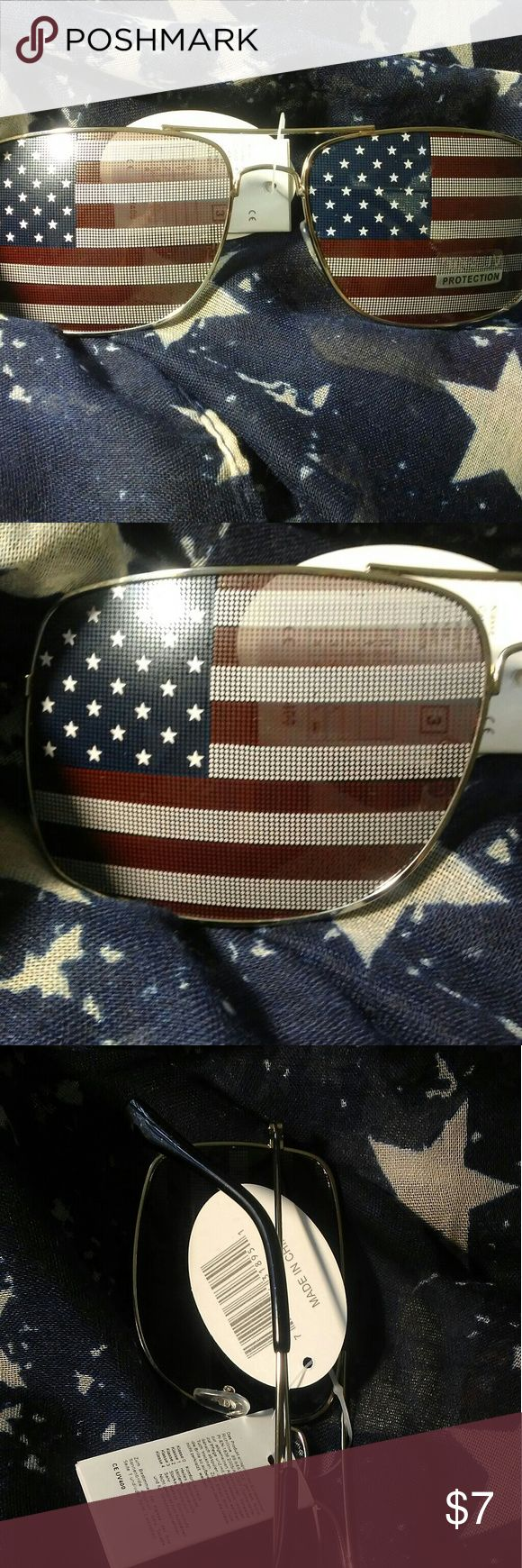 July 4th Patriotic American Flag Sunglasses UV PROTECTION. Not to be used while driving More for fun Lenses are textured meaning you can't see clear out of them. Accessories Sunglasses