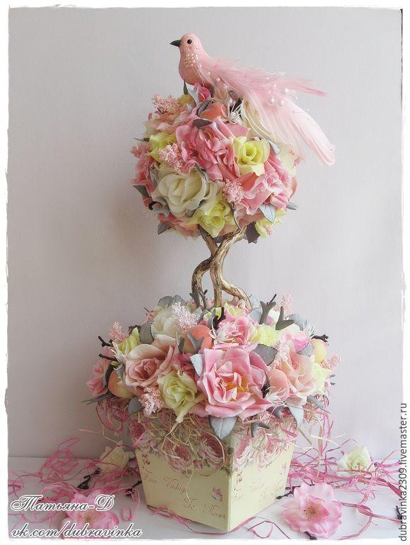 """Купить Интерьерная композиция """"Чайные розы"""". - бледно-розовый, композиция из цветов, персик, оригинальный подарок"""