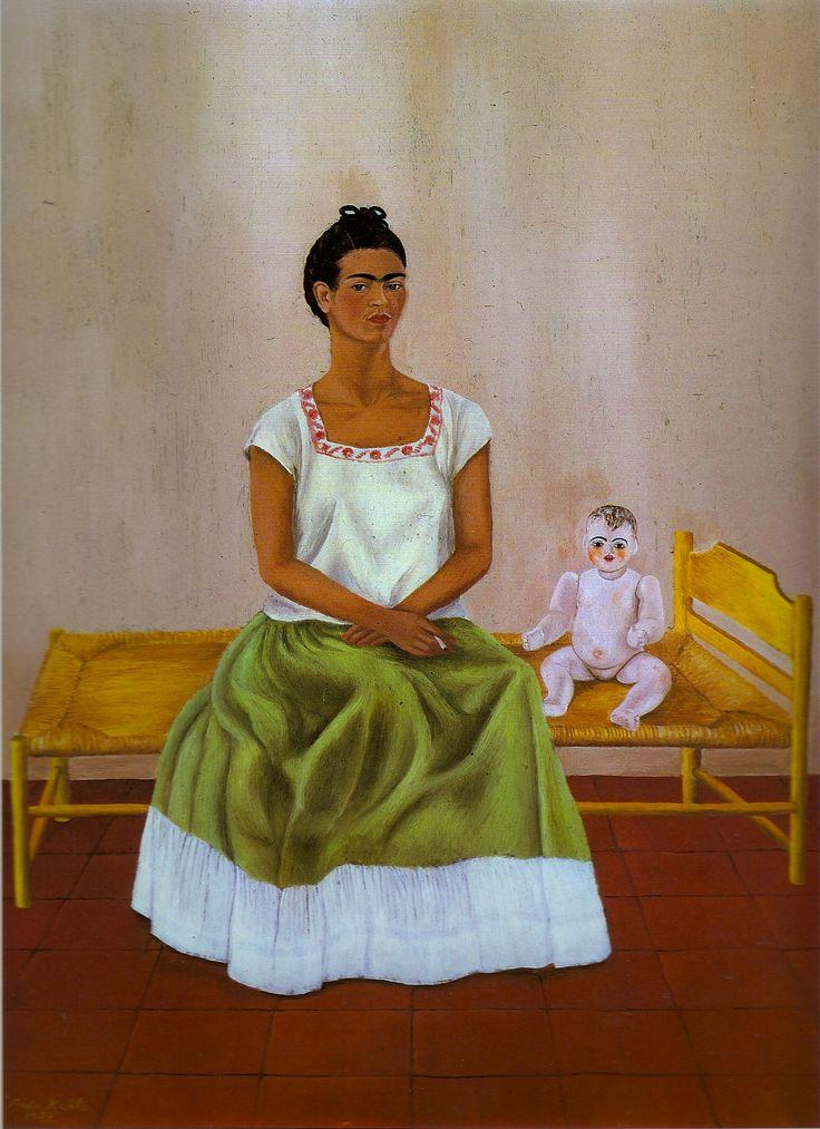 Yo con mi muneca (self portrait with doll), Frida Kahlo.