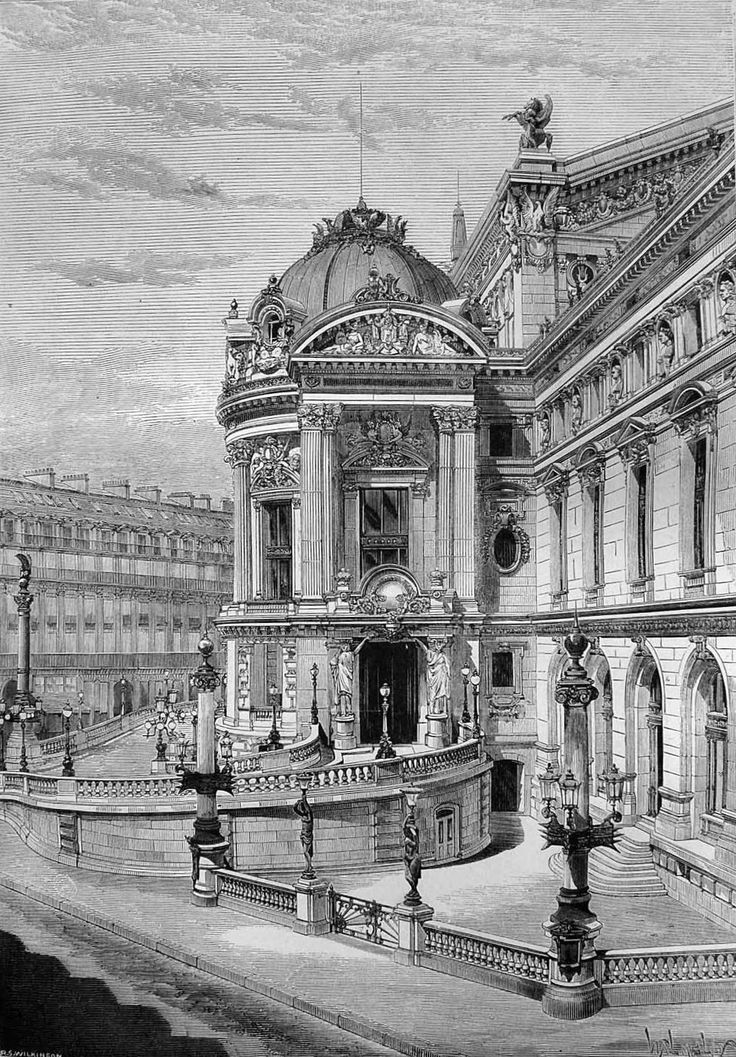 The New Opera House Paris Side View showing the Carriage Entrance Rue Scribe 1874 may 16 The Builder