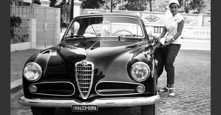 Silvana Pampanini and her Alfa Romeo 1900 Sprint