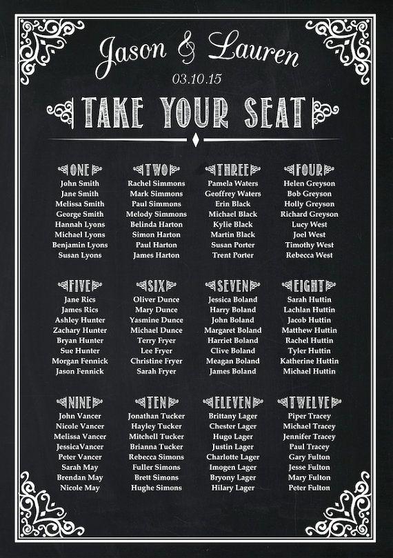 Wedding Seating Plan Chart Chalkboard Poster by AmyGemptonDesign