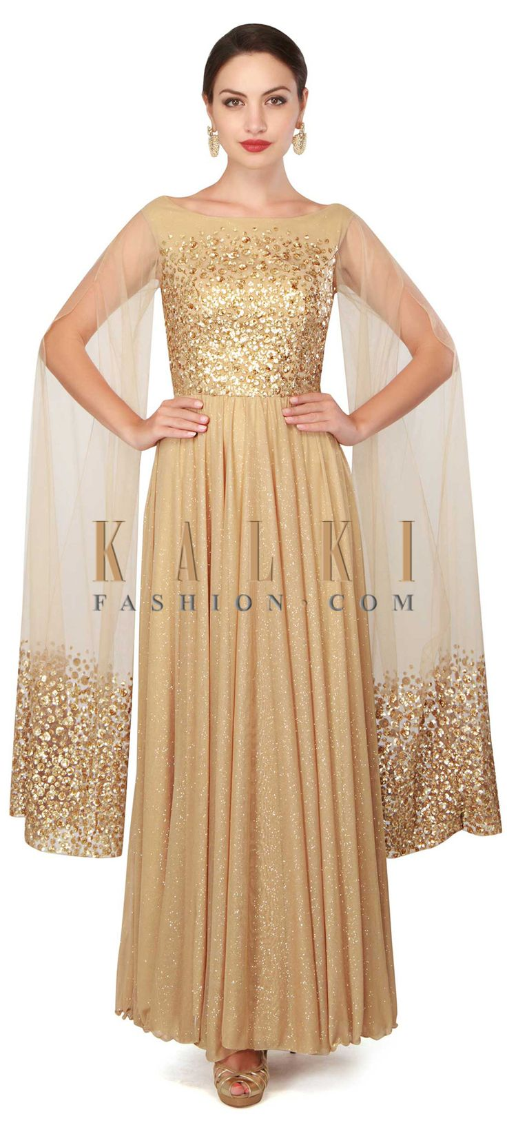Buy Now Gold anarkali suit in sequin with slit sleeve only on Kalki