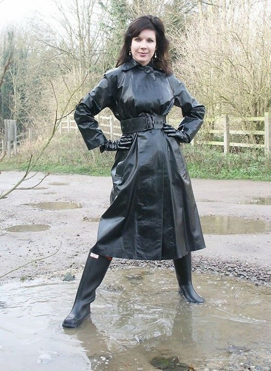 Lorraine Ward in a Black PVC Raincoat and Classic Hunters